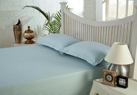 Candy Floss Blue Self-Stripe Fitted Sheet