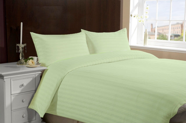 Apple Green Self-Stripe Fitted Sheet
