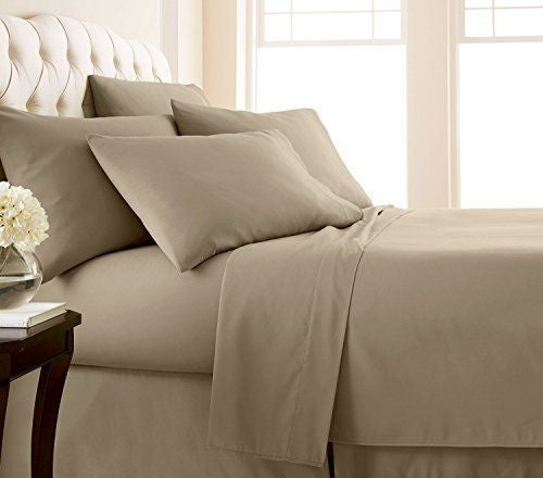 Beige Solid Fitted Sheet