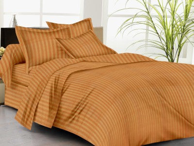 Brick Orange Self-Stripe Fitted Sheet