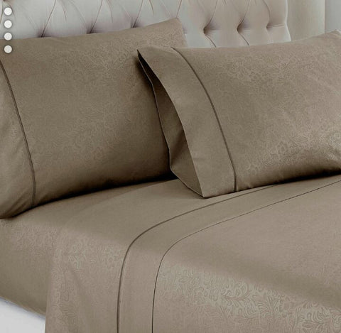 Beige Embossed Damask Vine Fitted Sheet