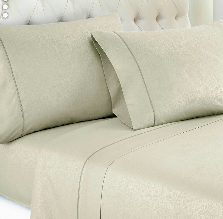 Ivory Embossed Damask Vine Fitted Sheet