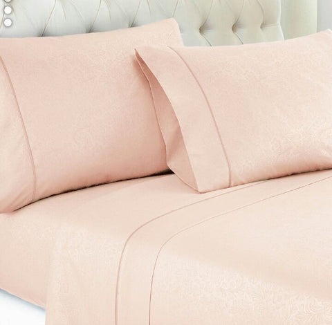 Peach Embossed Damask Vine Fitted Sheet