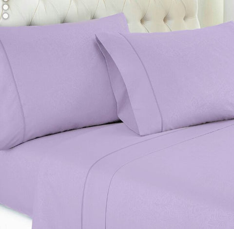 Mauve Embossed Damask Vine Fitted Sheet