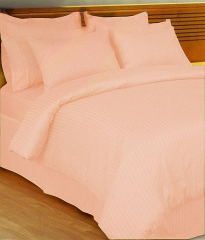 Peach Self-Stripe Fitted Sheet
