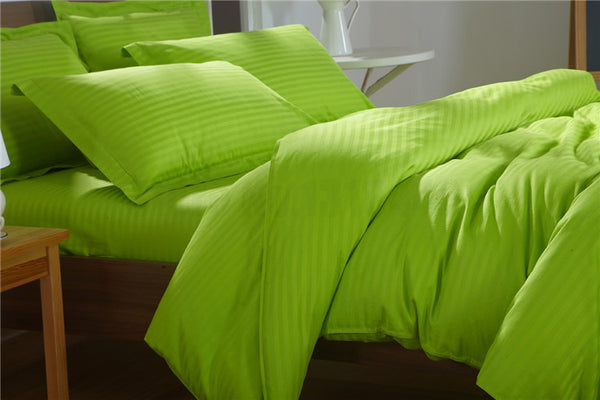 Lime Green Self Stripe Fitted Sheet Snuggle Bug