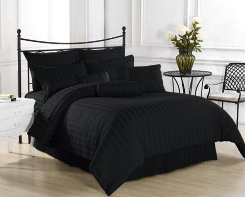 Abstract Black Self-Stripe Fitted Sheet