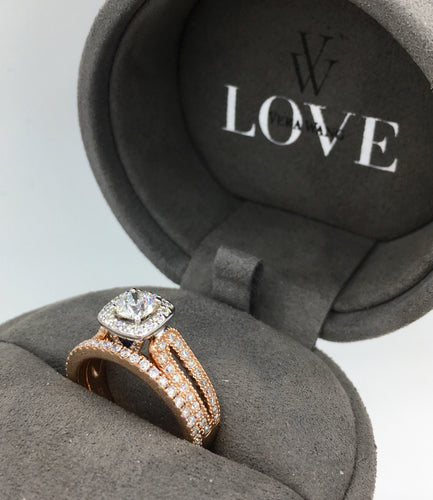 14K Rose Gold Diamond Engagement Ring Set