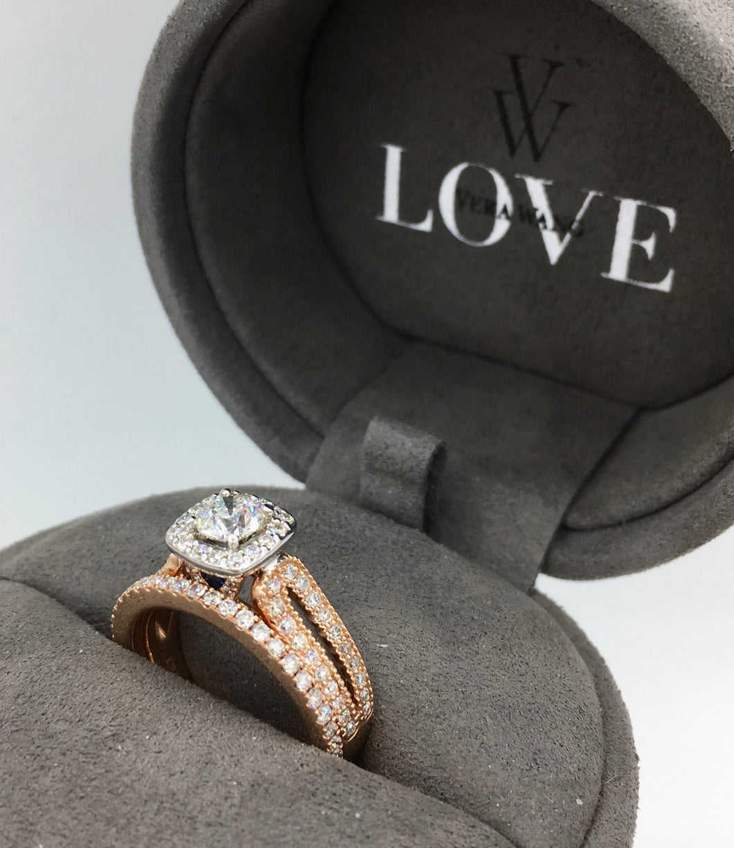 14K Rose Gold Diamond Engagement Ring Set (SOLD)