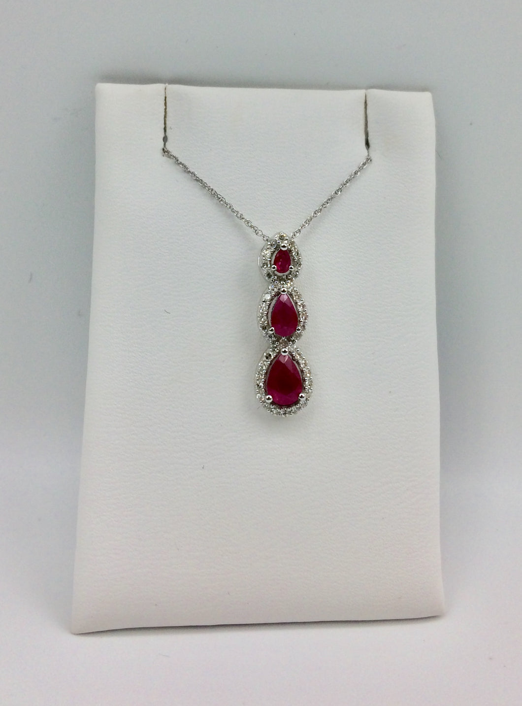 10K White Gold Ruby Necklace