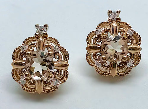 10K Morganite Canadian Diamond Earrings