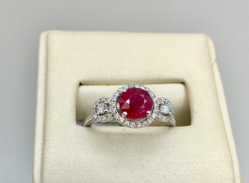 18K 1.36Ct Ruby Diamond Ring