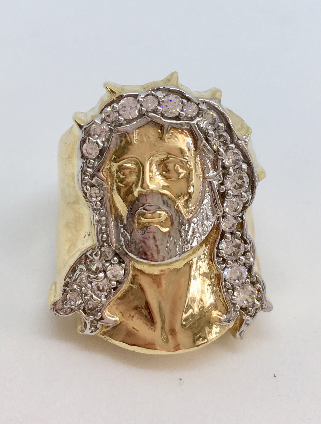 10K Jesus Head Ring with Thorns