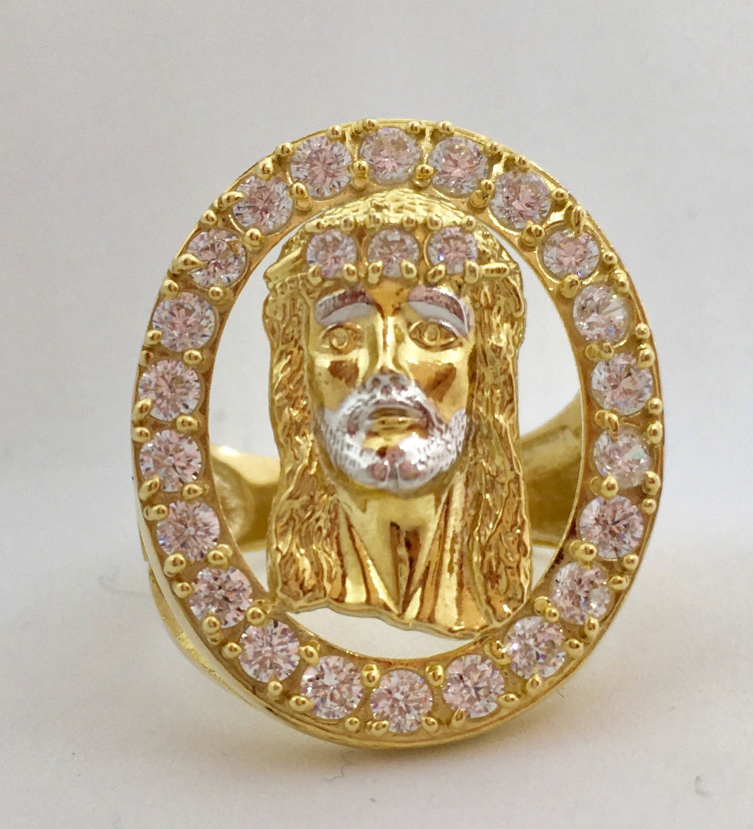 10K Jesus Head Ring with Crystal Halo