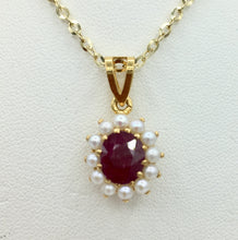 22K Ruby and Pearl Pendant