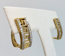 10K Greek Key Earrings with Diamond Cut trim