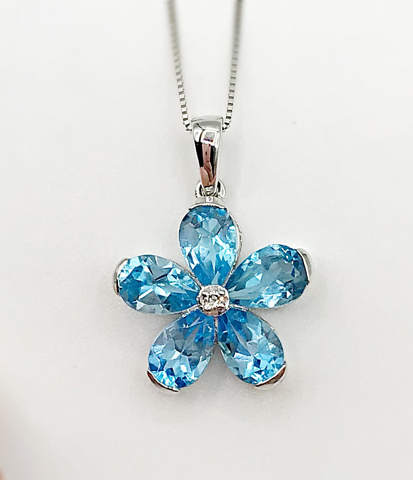 10K Diamond Blue Topaz Pendant Forever Jewellery Collection