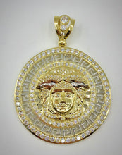 10K Medusa Head Greek Key Symbol Pendant