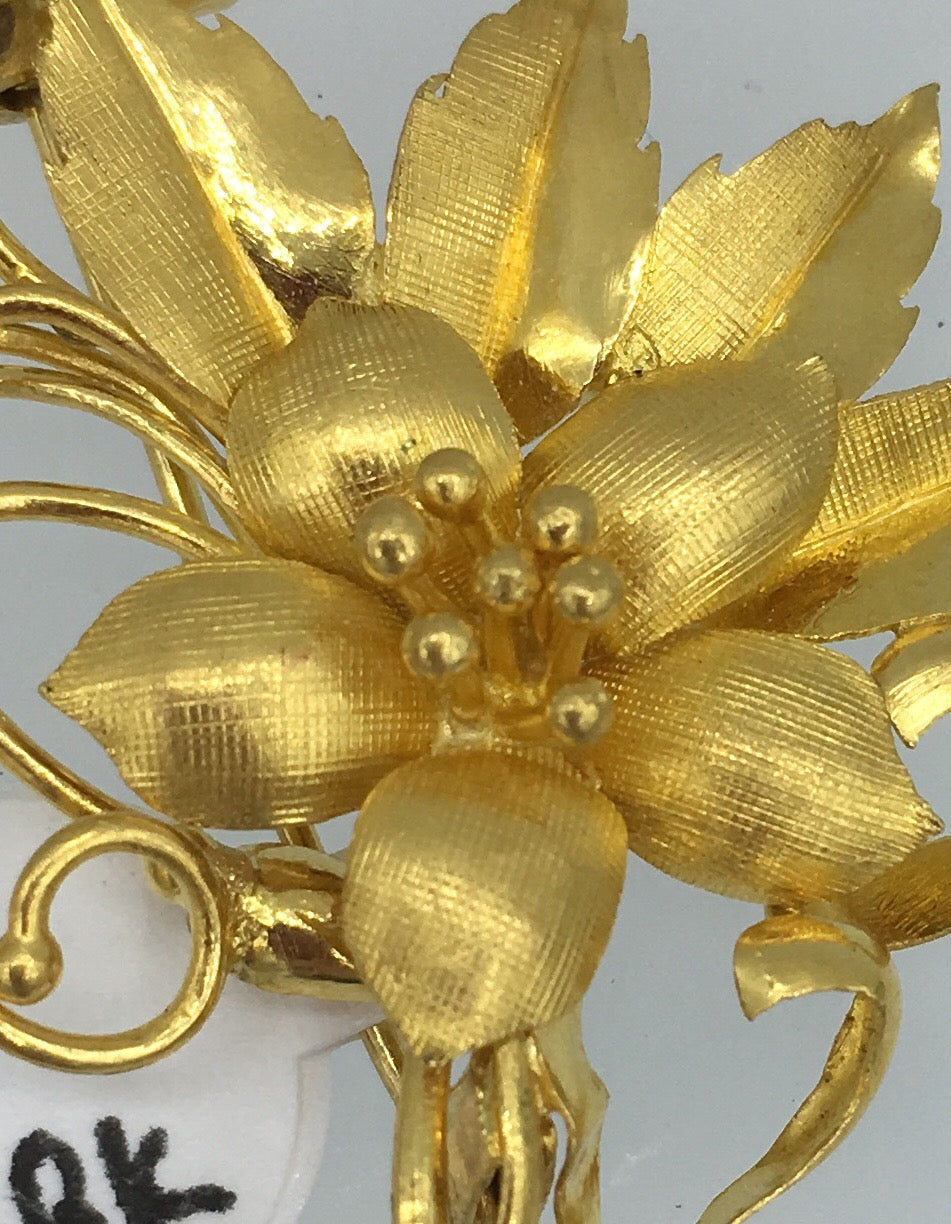 18K Yellow Gold Flower Brooch