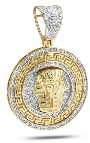 10K 0.75CTW Diamond Greek Key Pharoah Medallion