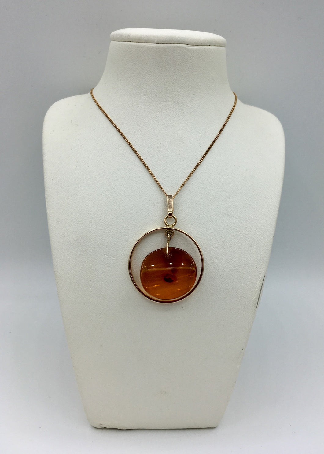 14K Rose Gold Amber Pendant and Chain