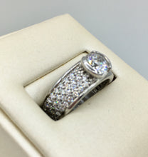 14K White Gold Semi-Bezel Set Diamond Ring