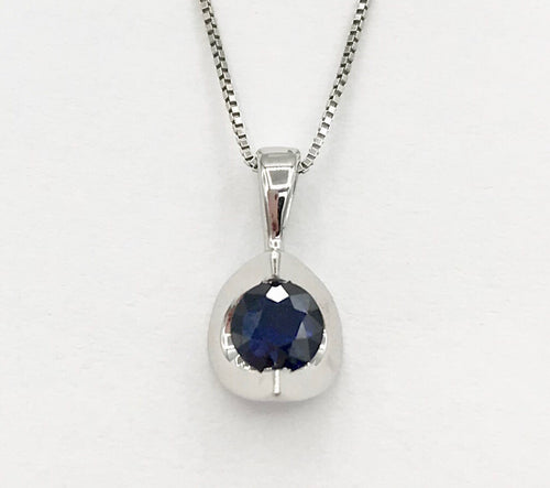 10K Sapphire Pendant with Chain Forever Jewellery