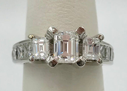 14K White Gold 2.03Ct Emerald Cut Diamond Ring (SOLD)