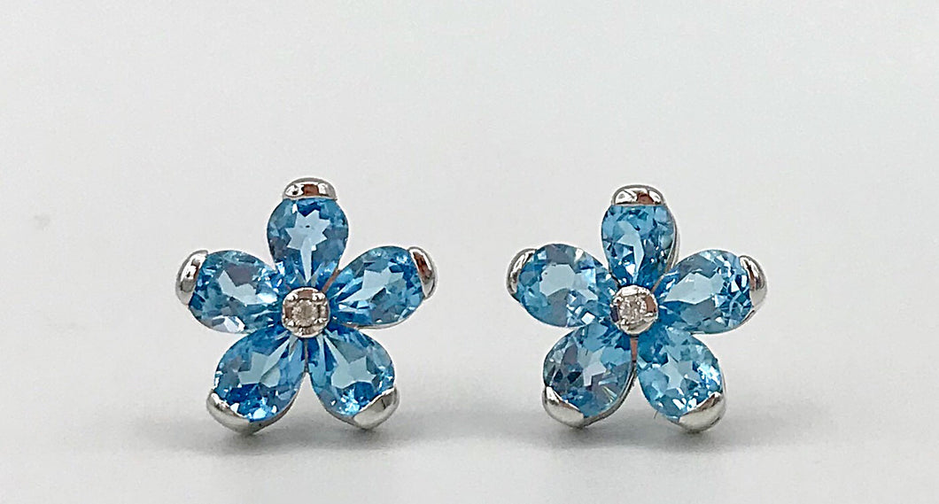 10Kt Blue Topaz Diamond Earrings Forever Jewellery Collection