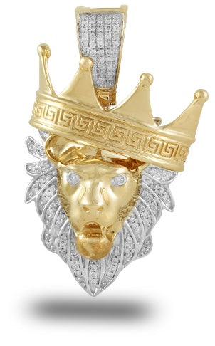 14K 0.35 CTW Diamond Lion Head with Crown