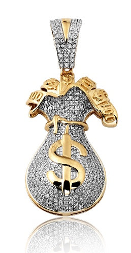 10K Diamond Money Bag Pendant