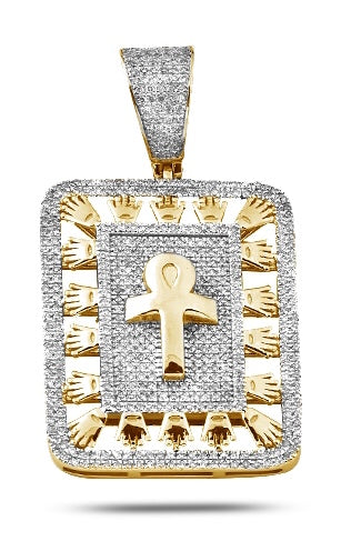 10K Yellow Gold 1.25 CTW Diamond Ankh Dogtag with Crown Border