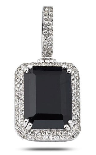 14K W/G 1.25 TDW Diamond Pendant with 12.62 Ct Black Gemstone