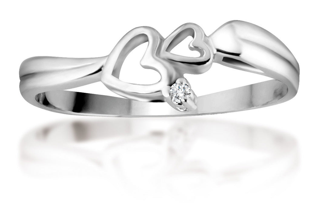 10Kt White Gold Diamond Ring with Love Hearts