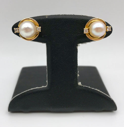 14K Pearl and Diamond Earring