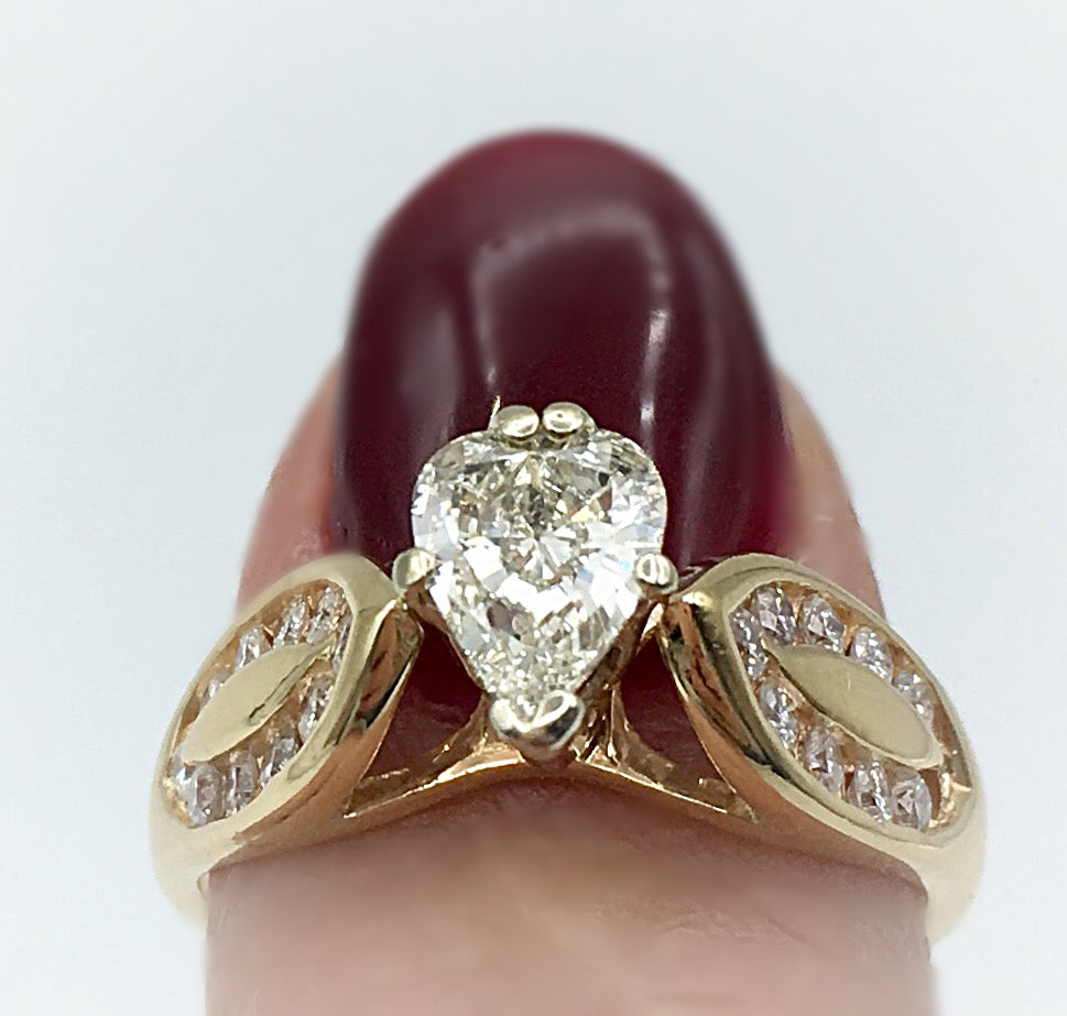14K Pear Shaped Diamond Ring