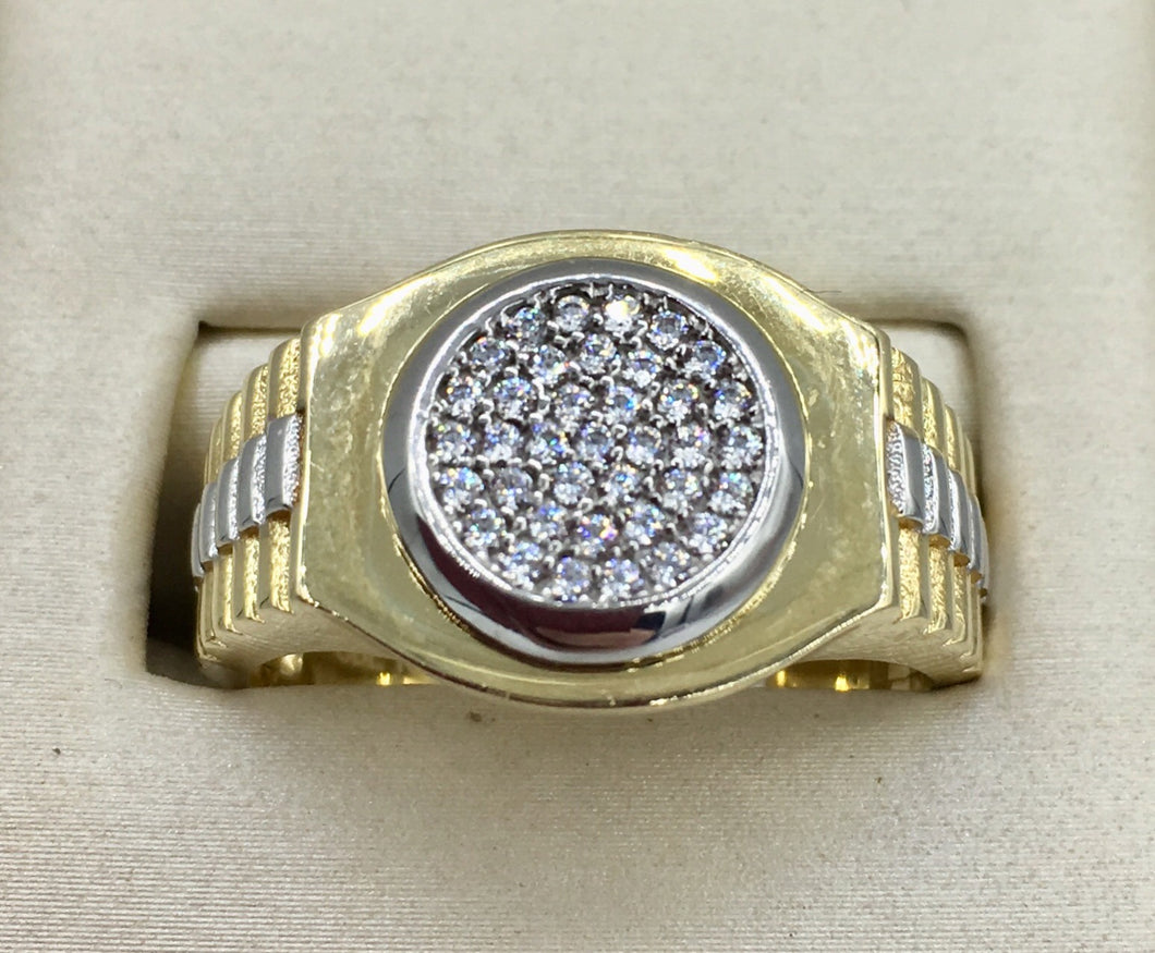 10K Ring with Rolex Pattern Band