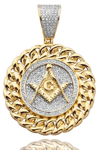 10K 0.50 CTW Diamond Masonic Medallion with Miami Cuban Border