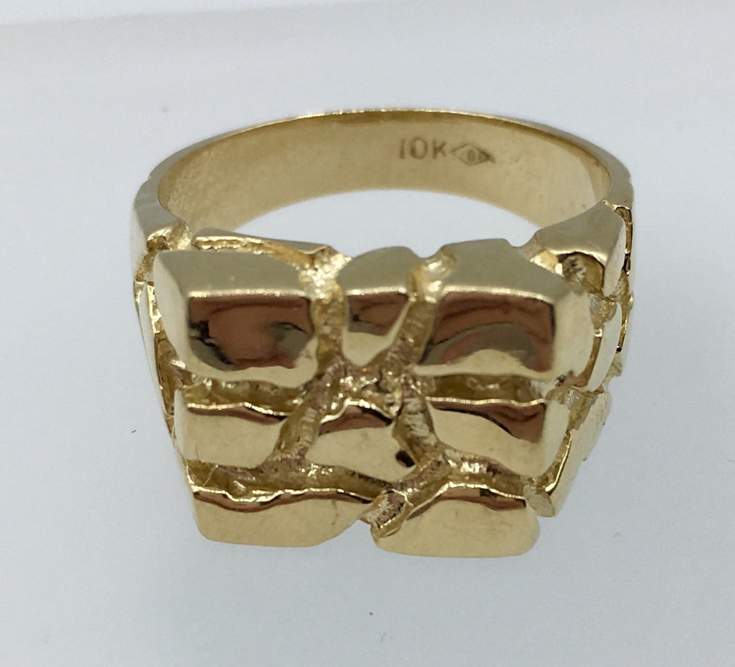 10K Gold Nugget Ring SAL10KYGSQNR