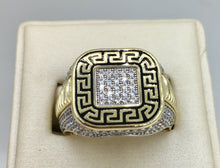 10K Yellow Gold Versace Ring with Black Key Symbol