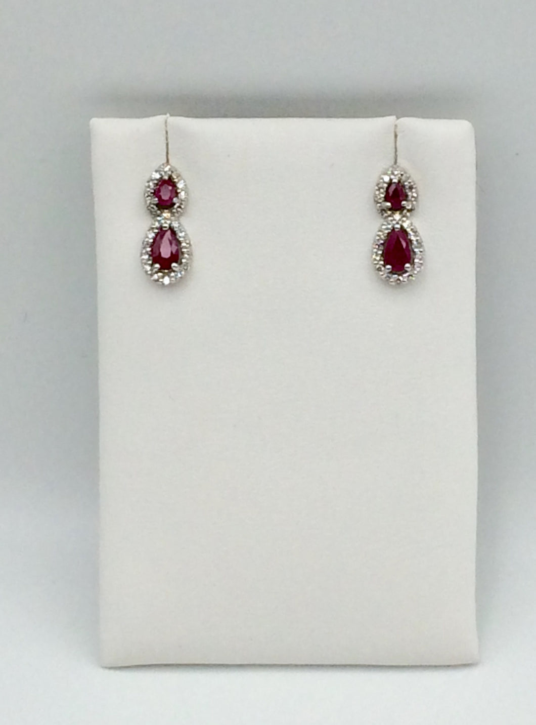 10K White Gold Ruby Earrings