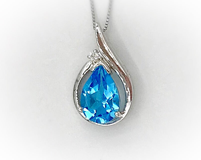 10Kt Blue Topaz Diamond Pendant & Chain Forever Jewellery Collection