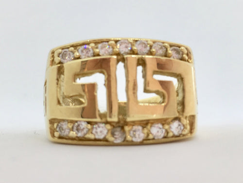 10K Versace Greek Key Symbol Ring