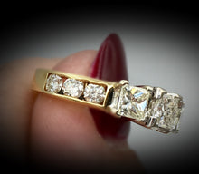 14K Princess Cut Past, Present & Future Ring