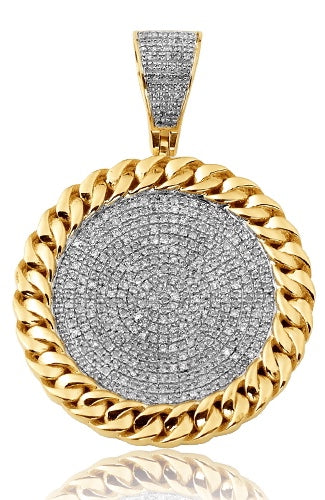 10K 0.65CTW Diamond Face Medallion with Miami Cuban Border