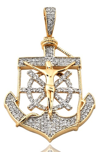 14K Yellow Gold 0.75 TDW Diamond Anchor Jesus Pendant