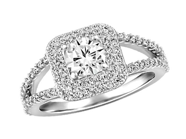 1Ct diamond Halo white Gold Ring
