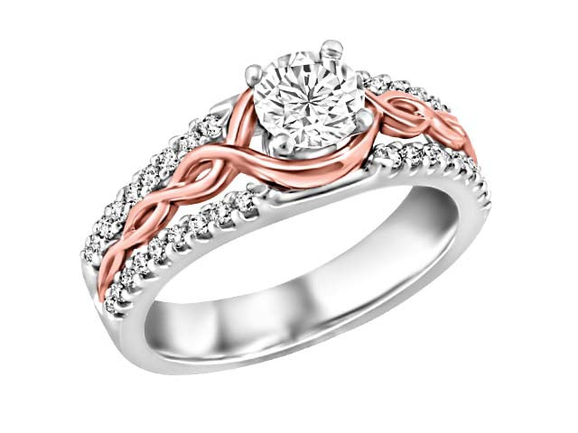 10K Gold Diamond Engagement Ring with Rose Gold BH-ERG00012