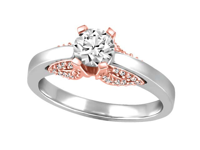 Diamond Engagement Ring with a touch of Rose Gold BH-ERG00015