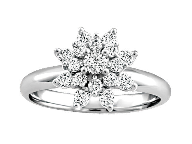 Stunning .50tw Diamond Cluster Ring Centre .10 ct BH-ERG00019